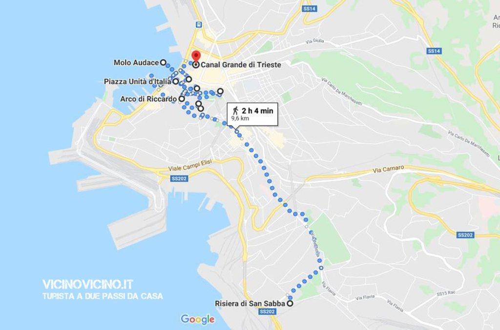 Trieste, mappa del percorso cittadino